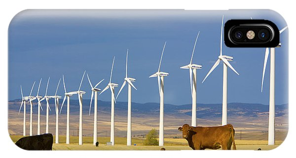 Mp iPhone Case - Cattle And Windmills In Alberta Canada by Yva Momatiuk and John Eastcott