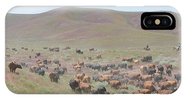 Cattle Drive In The Spring Phone Case by Lee Raine