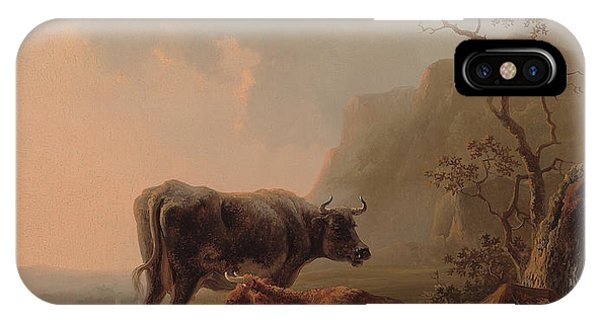 Cow iPhone X / XS Case - Cattle In An Italianate Landscape by Jacob van Strij