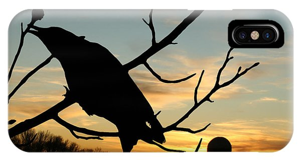 Cawcaw Over Sunset Silhouette Art IPhone Case