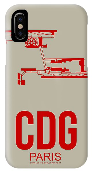 Paris iPhone Case - Cdg Paris Airport Poster 2 by Naxart Studio