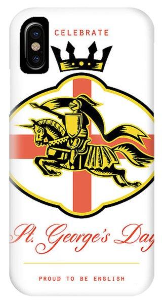 Celebrate St. George Day Proud To Be English Retro Poster Phone Case by Aloysius Patrimonio