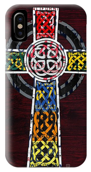 Celtic Cross License Plate Art Recycled Mosaic On Wood Board IPhone Case