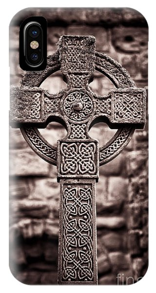 Celtics iPhone Case - Celtic Cross Lindisfarne Priory by Tim Gainey