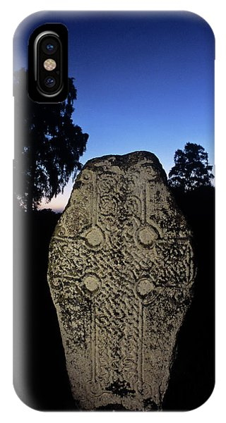 Celtics iPhone Case - Celtic Cross Standing Stone by Duncan Shaw/science Photo Library