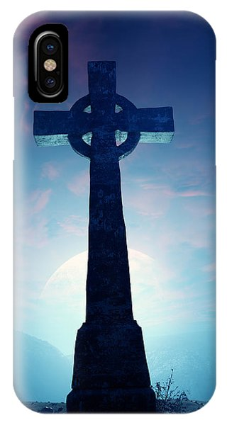 Dark Clouds iPhone Case - Celtic Cross With Moon by Johan Swanepoel