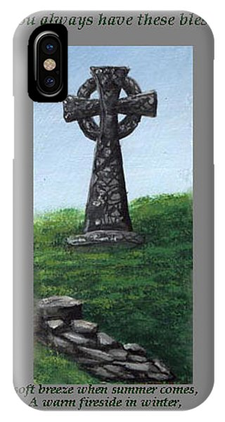 iPhone Case - Celtic Cross With Old Irish Blessing by Barbara McDevitt