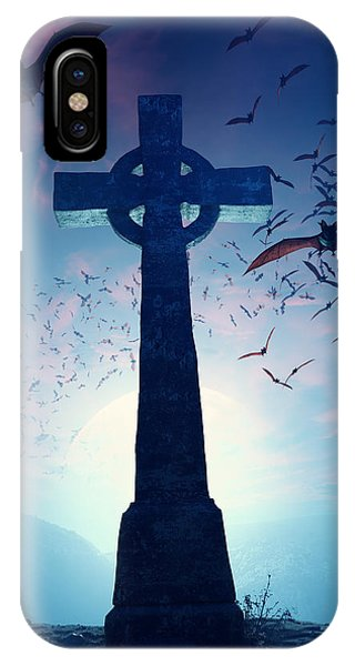 Sinister iPhone Case - Celtic Cross With Swarm Of Bats by Johan Swanepoel