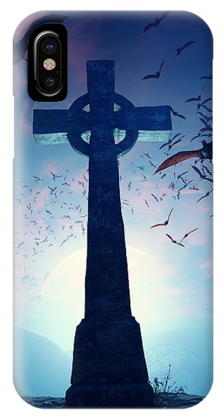 Bat iPhone Case - Celtic Cross With Swarm Of Bats by Johan Swanepoel