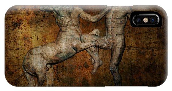 Minotaur iPhone Case - Centaur Vs Lapith Warrior by Daniel Hagerman
