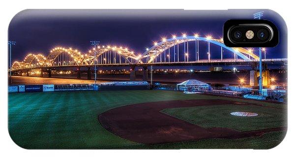 Centennial Bridge iPhone Case - Centennial Bridge And Modern Woodmen Park by Scott Norris