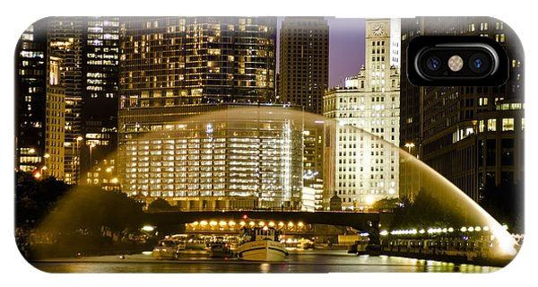 Centennial Fountain Over Chicago River At Dusk IPhone Case