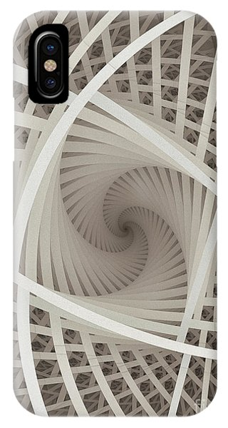 Fractal Geometry iPhone X Case - Centered White Spiral-fractal Art by Karin Kuhlmann