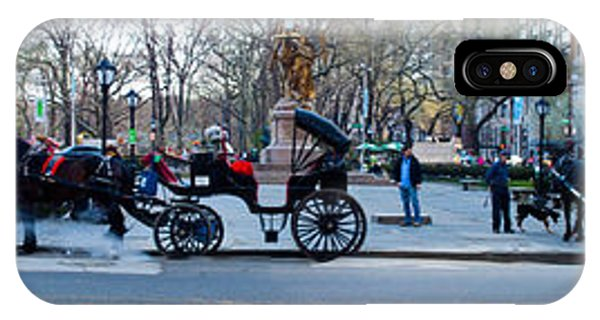 Central Park Horse Carriage Station Panorama IPhone Case
