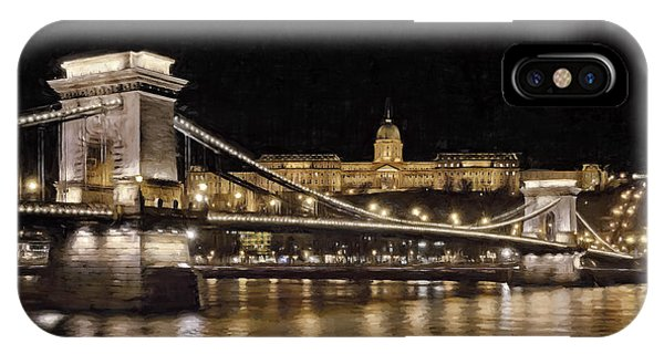 Chain Bridge And Buda Castle Winter Night Painterly IPhone Case