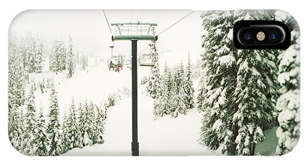 Cold Day iPhone Case - Chair Lift And Snowy Evergreen Trees by Panoramic Images