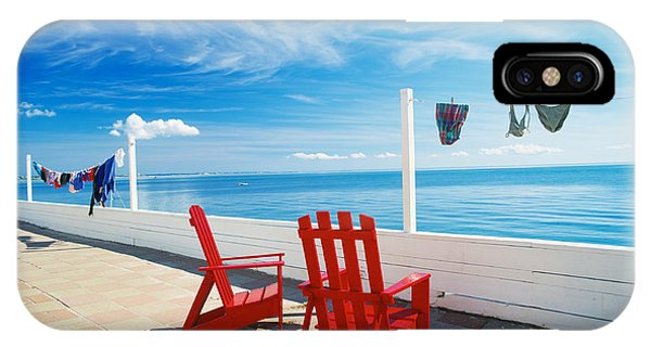 Oceanfront iPhone Case - Chairs Cape Cod Ma by Panoramic Images