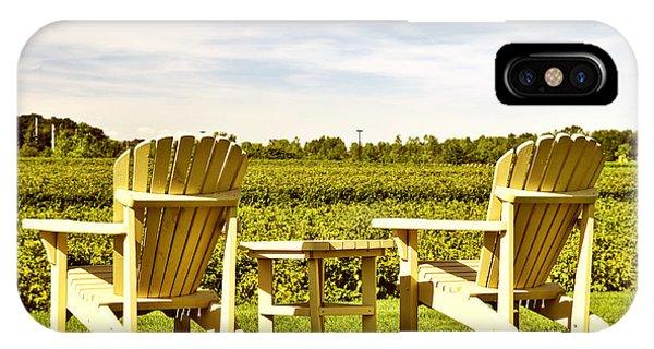 Chairs Overlooking Vineyard IPhone Case