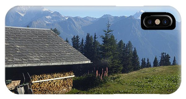 Chalet In The Swiss Alps Bettmeralp Switzerland IPhone Case