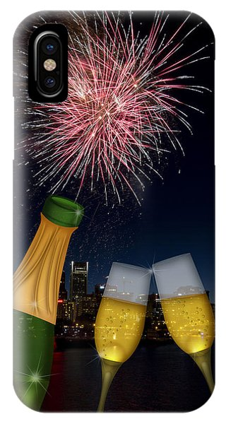 Champagne Toast With Portland Oregon Skyline IPhone Case