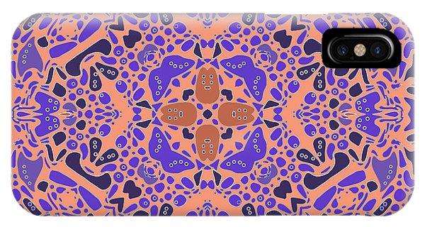 IPhone Case featuring the digital art Chandra Periwinkle Edges Kaleidoscope by Joy McKenzie