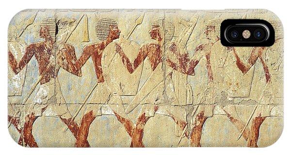 Chapel Of Hathor Hatshepsut Nubian Procession Soldiers - Digital Image -fine Art Print-ancient Egypt IPhone Case