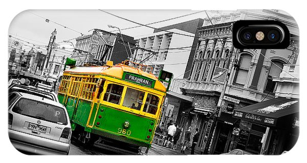 Swan iPhone Case - Chapel St Tram by Az Jackson