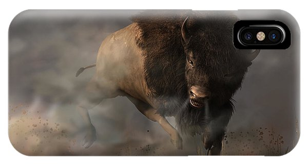 IPhone Case featuring the digital art Charging Bison by Daniel Eskridge