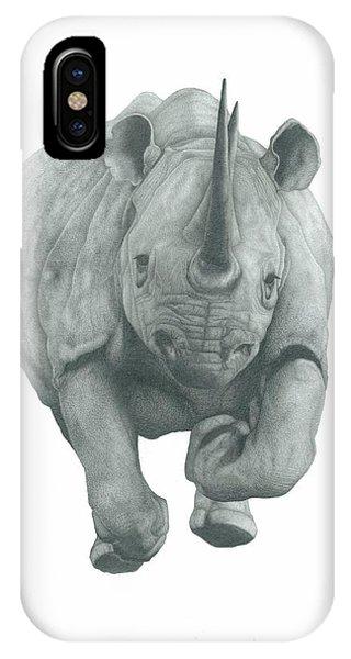 Rhinocerus iPhone Case - Charging Rhino by Rich Colvin