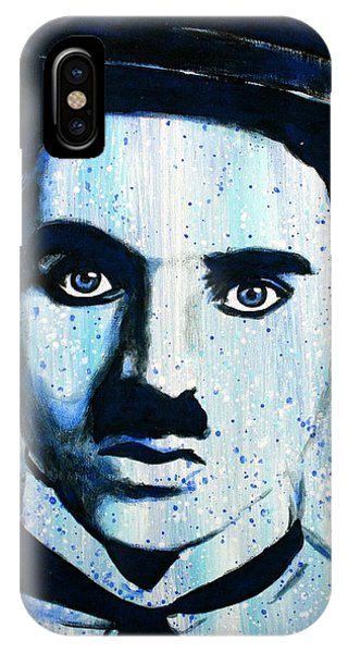IPhone Case featuring the painting Charlie Chaplin Little Tramp Portrait by Bob Baker