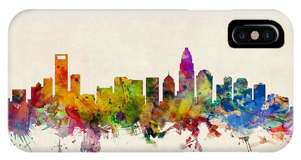 Watercolour iPhone Case - Charlotte North Carolina Skyline by Michael Tompsett
