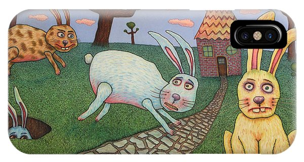 Rabbit iPhone Case - Chasing Tail by James W Johnson