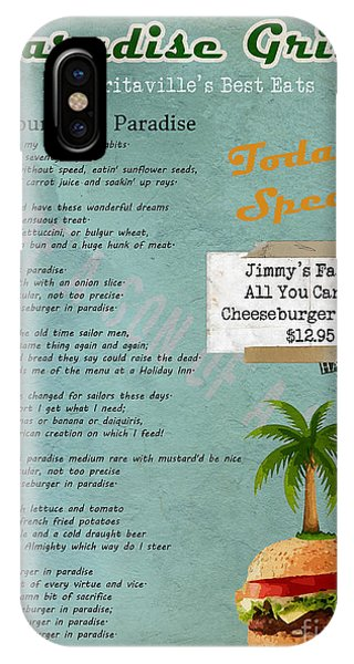 Cheeseburger In Paradise Jimmy Buffet Tribute Menu  IPhone Case