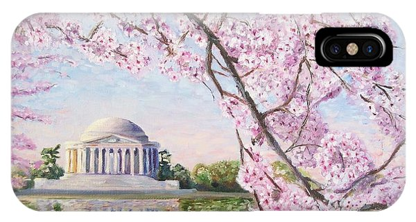 Jefferson Memorial iPhone Case - Jefferson Memorial Cherry Blossoms by Patty Kay Hall