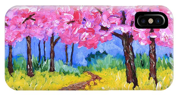Cherry Trees And Field Mustard After The Rain Acrylic Painting IPhone Case