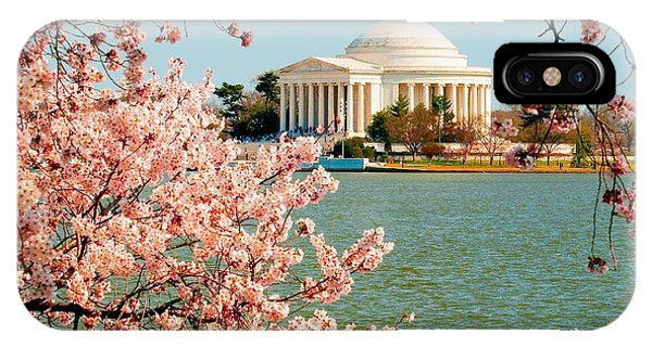 Jefferson Memorial iPhone Case - Cherry Trees At The Jefferson by Nick Zelinsky
