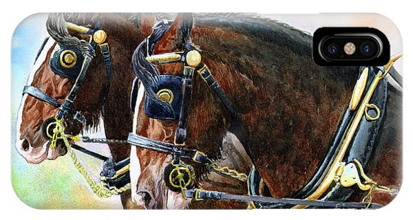Chestnut Shire Horses Phone Case by Anthony Forster