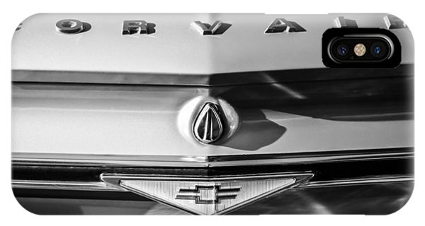 Corvair iPhone Case - Chevrolet Corvair Emblem -0082bw by Jill Reger