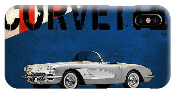 1958 iPhone Case - Chevrolet Corvette 1958 by Mark Rogan