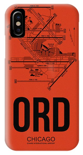 Airplane iPhone Case - Chicago Airport Poster 1 by Naxart Studio