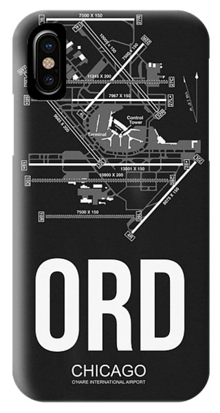 Transportation iPhone Case - Chicago Airport Poster by Naxart Studio