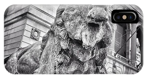 City iPhone Case - Lion Statue At Art Institute Of Chicago by Paul Velgos
