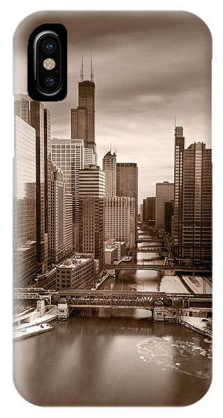 Chicago River iPhone Case - Chicago City View Afternoon B And W by Steve Gadomski