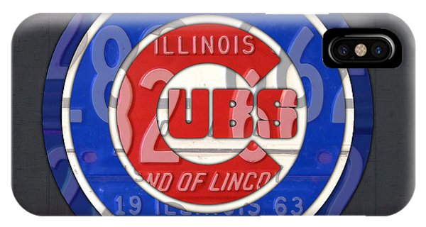 Chicago Cubs Baseball Team Retro Vintage Logo License Plate Art IPhone Case