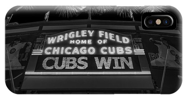 Chicago iPhone Case - Chicago Cubs Win Fireworks Night B W by Steve Gadomski