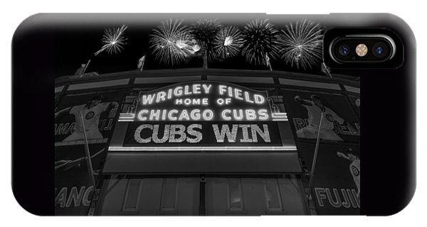 Chicago Cubs Win Fireworks Night B W IPhone Case