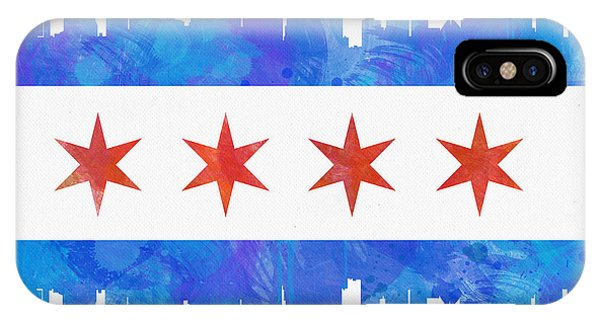 Chicago Skyline iPhone Case - Chicago Flag Watercolor by Mike Maher