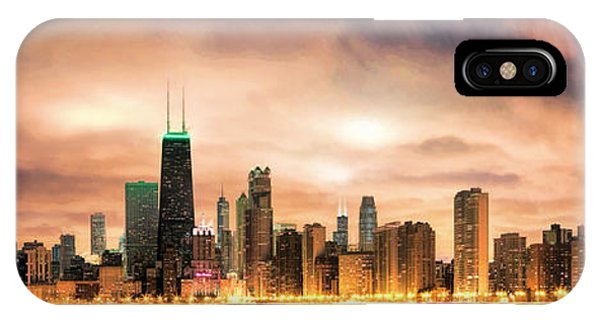 John Hancock Center iPhone Case - Chicago Gotham City Skyline Panorama by Christopher Arndt
