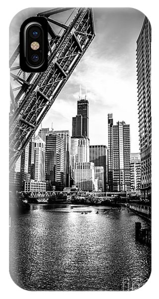 City iPhone Case - Chicago Kinzie Street Bridge Black And White Picture by Paul Velgos