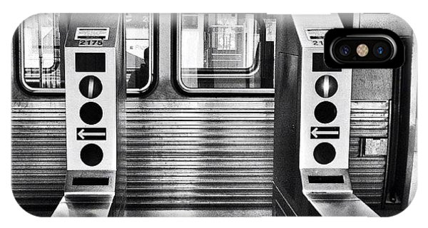 City iPhone Case - Chicago L Train Gate In Black And White by Paul Velgos